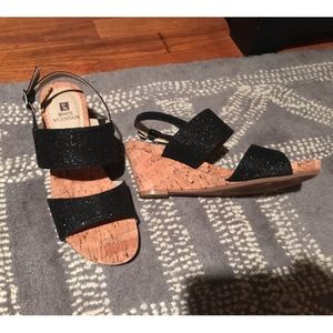 faux cork black strappy wedges